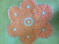 Мочалка вязанная ручной работы (Турция) оранжевый цветок