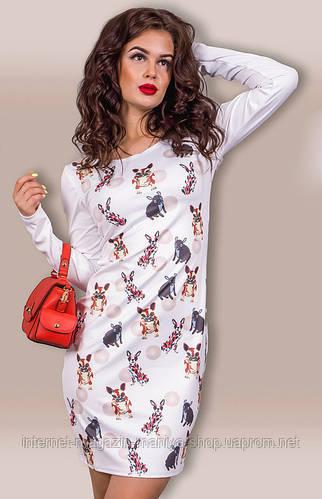 Платье женское мопсы