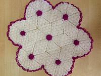Мочалка вязанная ручной работы (Турция) белый цветок
