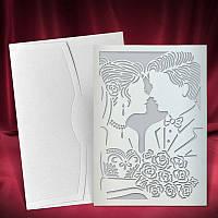 Пригласительные с высеченным силуэтом пары, свадебные приглашения, печать текста, заказать