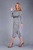 Теплое платье из меланжевого трикотажа с махровой изнаночной стороной   серый