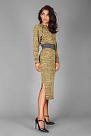 Теплое платье из меланжевого трикотажа с махровой изнаночной стороной   горчичный