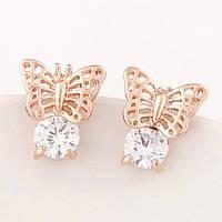Сережки бабочка с фианитом