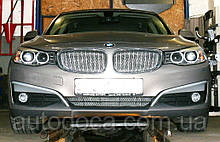 Декоративно-защитная сетка радиатора BMW 3 (F30) 2012- фальшрадиаторная решетка, бампер