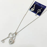 Серьги и кулон на цепочке ключик с замочком в виде сердца в стразах