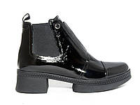 "Лаковые женские ботинки с ""молнией"" на подошве"
