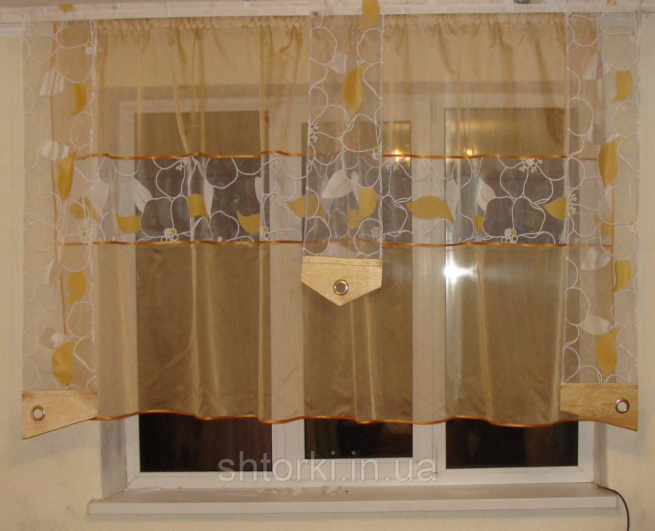 Комплект шторок и тюль золото до  подоконника