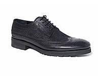 Мужские кожаные туфли-броги с принтом в виде текстиля