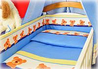 """Защита для детской кроватки в кроватку защитное ограждение бортики бампер - """"Мишки в горошек"""""""