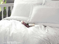 Евро комплект постельного белья Deco Bianca, Krem, жаккардовый сатин, Beyaz, Турция