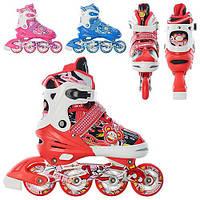 Детские ролики Profi Roller A 3066 M (35-38) раздвижные, 3 цвета