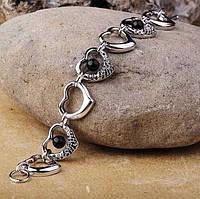 Серебряный женский родированный браслет с сердечками  (фианит, оникс)