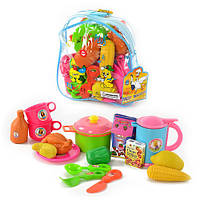 Детский игровой набор Посуда 9952  с продуктами, в рюкзаке