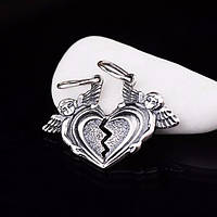 "Серебряная подвеска ""Две половинки сердца"" (ангелочки)"