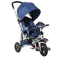 Детский трехколесный велосипед-коляска Crosser T350 надувные колеса Синий