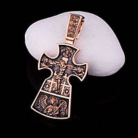 Золотой православный крестик (чернение)