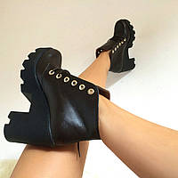Женские осенние ботинки от TroisRois из натуральной турецкой кожи на шнурках