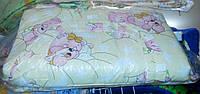 Защита для детской кроватки жёлтая Розовые мишки спят