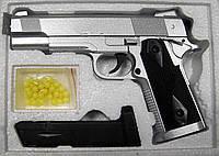 Пистолет железный на пульках ZM 25, серебряный