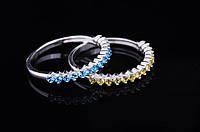 Женское серебряное кольцо (фианиты голубые)