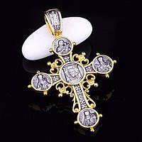 Серебряный православный крестик (чернение,позолота)