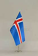 Флажок Исландии 13,5*25 см., плотный атлас