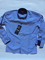 Рубашка голубого цвета в клеточку одежда для мальчиков 7-12 лет