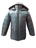 Стильная зимняя куртка для мальчика(серый). 116, 122, 128, 134