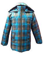 Стильная зимняя куртка для мальчика Клетка. 116, 122, 128, 134, 140
