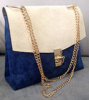 Сумка-клатч на цепочке Chloe (копия) синий с белым