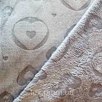 Трикотажное полотно велсофт пэ жаккардовый, серые сердечки