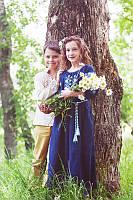 Детское вышитое платье в пол из льна темно-синее