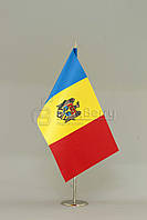 Флажок Молдавии 13,5*25 см., плотный атлас, фото 1