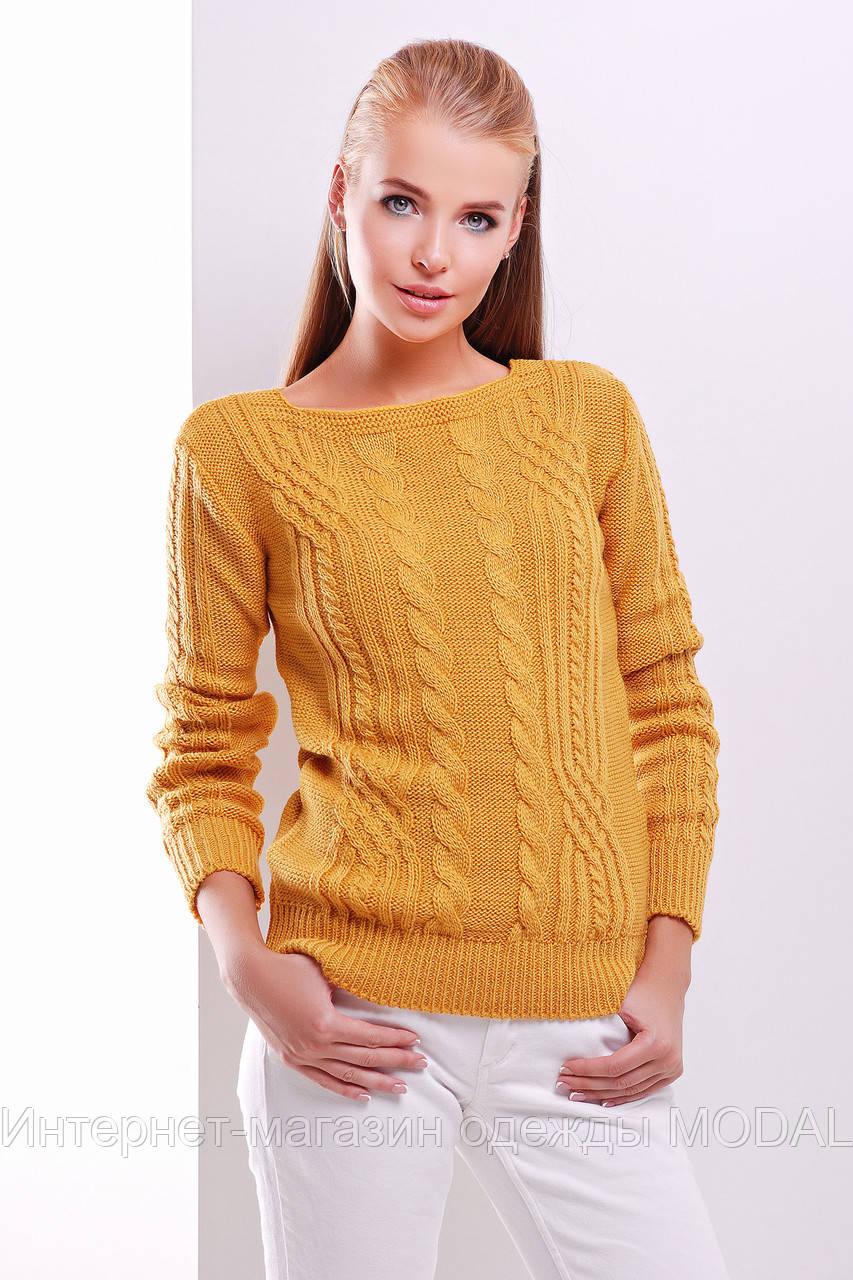 свитер вязаный в косички желтого цвета продажа цена в киеве