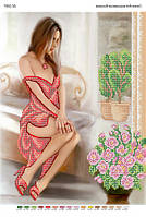 """Схема для частичной вышивки бисером """"Девушка в красном платье"""""""