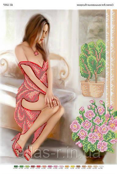Вышивка девушка в красном платье