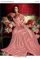 """Схема для частичной вышивки бисером """"Девушка в красных розах"""""""