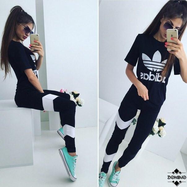 Стильный женский спортивный костюм ADIDAS футболка и лосины (белая эмблема)  - Модный гардероб e5df5c7e01c
