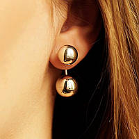 Серебряные женские сережки шарики без камней