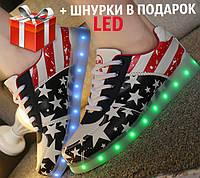 Светящиеся кроссовки LED с американским флагом, фото 1