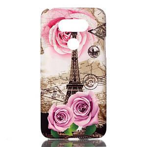 Чехол накладка для LG G5 H845 пластиковый фактурный, Эйфелева башня и цветы
