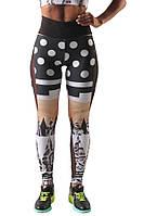 Женские черно серые с принтом лосины для спорта и туризма (компресионные) SAFARI X1
