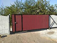 Ворота откатные ручные больших размеров с калиткой