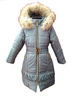 Серое пальто для девочки с натуральным мехом 116, 122, 128, 134, 140
