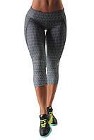 Женские бриджи (лосины) серые для занятие спортом синие BLACK SHADE