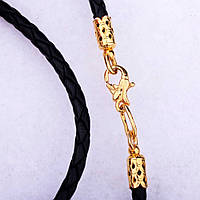 Кожаный шнурок с замком из серебра (позолота) на шею для крестика/подвески