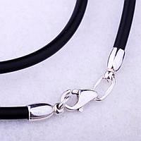 Кожаный шнурок с серебняным замком на шею для крестика/подвески