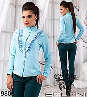 Изысканная  женская блуза воротник стойка