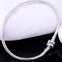 Серебряный женский браслет для шармов (родий)