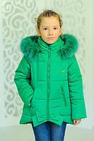 """Зимняя куртка для девочки """"Бант"""" бирюза,р.32,34,36,38,40,42"""